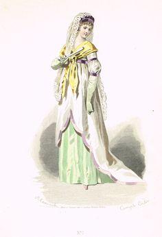 Planche n°1 - Les modes parisiennes sous le Directoire - dessins de Compte-Calix d'après Moreau - Bureau des modes parisiennes (1871) - MAS Estampes Anciennes - Antique Prints since 1898
