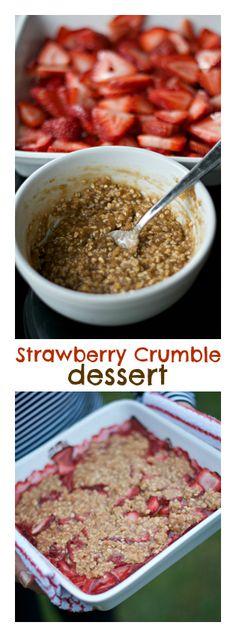 Strawberry Crumble Dessert   ReluctantEntertainer #memorialday #dessert