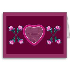 """Hearts & Roses X's & O's Frames Note Card - Dimensions: 4"""" x 5.6"""" (portrait) or 5.6"""" x 4"""" (landscape). Printed on ultra-heavyweight (120 lb.) card stock with a gloss finish. Each card comes with a white envelope. No minimum order. - $2.75"""
