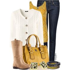 """Gold and Navy Fall"" by angkclaxton on Polyvore - inspired: white jacket, yellow top, navy denim jean, yellow VW bag, gold/navy jewelry, tan boot"