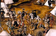 1500-1568 Matthias Gerung, The camp of the Emperor Charles V at Lauingen, DETAIL (Bread cart, water or beer barrel)