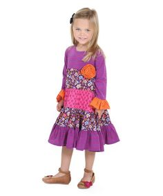 This Purple Desert Lily Cameron Dress - Kids is perfect! #zulilyfinds Jelly the Pug  $17.99 from 44.00