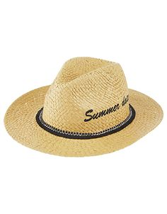 Embroidered with a cute slogan and trimmed with fringing, our Summer Daze fedora hat is a must for your holiday snaps. This woven straw style will go from su...