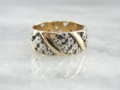 Wide Filigree Wedding Band in Yellow and White Gold by MSJewelers, $745.00