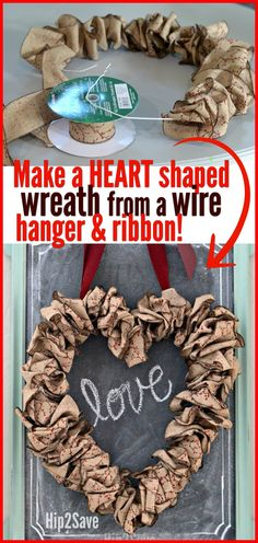 Wire Hanger Valentine's Day Wreath Using Leftover Christmas Ribbon – Hip2Save