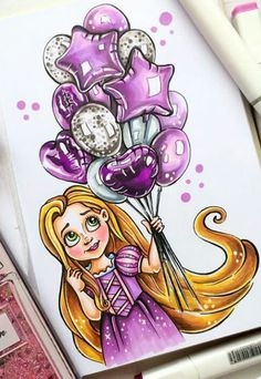 Arte Disney, Disney Art, Disney Rapunzel, Tangled Rapunzel, Copic Marker Art, Copic Art, Amazing Drawings, Cute Drawings, Black Art Painting