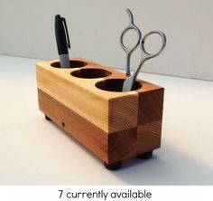 Pen Holder, Cup, Office Organizer, Desktop Organizer, Recycled Wood, Modern, Office Gift by AndrewsReclaimed, $43.00 USD