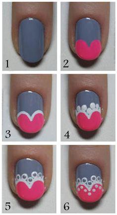 Cute Nail Art Tutorial for more fun and cute nail art designs Fancy Nails, Love Nails, Nail Art Diy, Diy Nails, Uñas Diy, Valentine Nail Art, Valentine Hearts, Cute Nail Art Designs, Pretty Designs