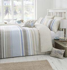 Kasey Fall Blue Brown Beige Super King Bed Size Stripe Duvet Cover Quilt Set