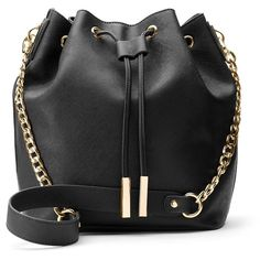InStyle Drawstring Bucket Bag ($68) ❤ liked on Polyvore featuring bags, handbags, shoulder bags, black, faux leather purses, vegan purses, drawstring shoulder bag, handbags purses and shoulder strap purses
