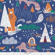 Woodland TeePee Fabric - A Bear Camp By Demigoutte - Navy Southwest Woodland Kids Animal Cotton Fabric By The Yard With Spoonflower by Spoonflower on Etsy https://www.etsy.com/listing/507963909/woodland-teepee-fabric-a-bear-camp-by