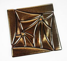 Shimmering Gold Fused Glass Plate Home Decor by ModMixArt on Etsy