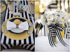 Modern Yellow and Black and White Stripes Wedding Ideas | Bridal Musings