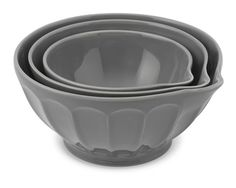 Latte Mixing Bowl with Spout, Set of 3, Gray