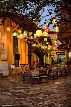 Greece Travel Inspiration - Greece Travel Inspiration- Kalamata (like the olive) ~ Peloponnese peninsula in southern Greece Oh The Places You'll Go, Places To Travel, Places To Visit, Café Exterior, Beautiful World, Beautiful Places, Outdoor Cafe, Backyard Cafe, Outdoor Restaurant Patio