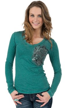 Rock & Roll Cowgirl® Women's Teal with Cross & Shield Embellished Long Sleeve Tee