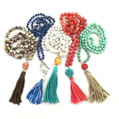 Tassel necklaces designed by Molly Schaller