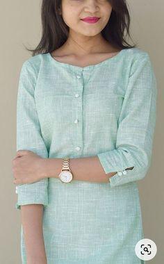 Simple Kurta Designs, Silk Kurti Designs, Salwar Neck Designs, Kurta Neck Design, Dress Neck Designs, Kurta Designs Women, Kurti Designs Party Wear, Blouse Designs, Kurtha Designs