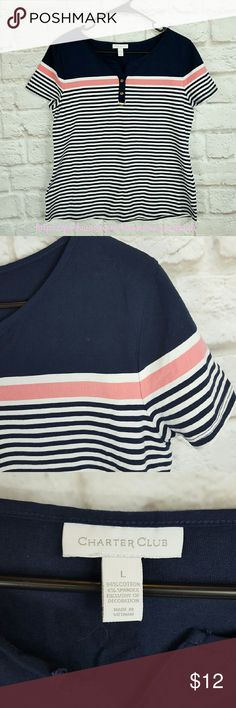"""Charter Club Nautical Stripe Tee T Shirt size L Charter Club Nautical Stripe Tee T Shirt size L in excellent used condition. Like new. Front button embellishment. 94% Cotton, 6% Spandex.   Waist from Seam to Seam: 20"""" Length from Top: 24""""  Please let me know if you have questions. Happy Poshing! Charter Club Tops Tees - Short Sleeve"""