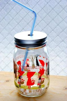 """צנצנת זכוכית לשתייה 450 מ""""ל - red hood – Shoppu Red Hood, French Press, Tumbler, Coffee Maker, Goodies, Kitchen Appliances, Bento, Decor Ideas, Design"""