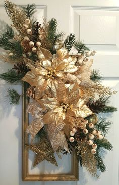Glorious gold picture frame wreath by marlas. Picture Frame Wreath, Gold Picture Frames, Decoration Pictures, Decorating With Pictures, Holiday Wreaths, Holiday Decor, Christmas Arrangements, Holiday Pictures, Frame Crafts
