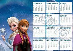Elsa and Anna Printable Frozen Calendar Templates for New Year - 2016 Monthly Countdown DIY Caledar