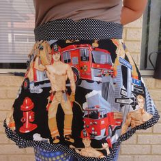 pin-up/retro style quarter circle apron with semi naked firemen! What more could a girl want!