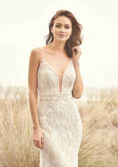 Walk down the aisle in style in this deep V-neck allover lace fit and flare gown. It features a beautiful lace and horizontal beaded detail at waistline. Sweep length train completes the look. Plunging Neckline Style, Wedding Dresses Brisbane, Bridal Elegance, Lillian West, Bridal Gallery, Wedding Dress Shopping, Formal Wedding, Boho Wedding, Formal Gowns