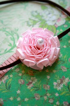 Vintage Inspired Pink Flower Headband