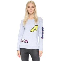 Mira Mikati Words Patched Sweatshirt (1.790 RON) ❤ liked on Polyvore featuring tops, hoodies, sweatshirts, grey, sweat tops, long sleeve tops, sweatshirts hoodies, slimming tops and crew-neck sweatshirts