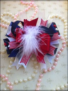 hair bows for girls | hair bow for little girls red,white and navy blue =) | bows
