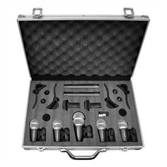 Pyle 7 Microphone Wired Drum Kit with Carry Case And Mounting Accessories