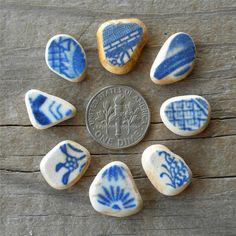 sea pottery, beautiful blues