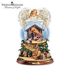 Thomas Kinkade Nativity Snowglobe With Lights, Snow, Music