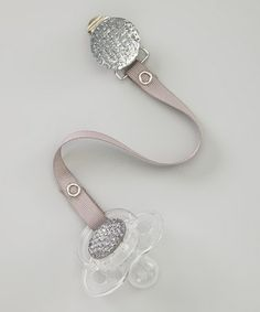 Another great find on #zulily! Gray Rhinestone Avent Pacifier & Ribbon Clip Set #zulilyfinds