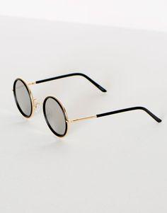 Okrągłe okulary z czarną oprawką - Okulary Przeciwsłoneczne - Dodatki - Dla Niej - PULL&BEAR Polska