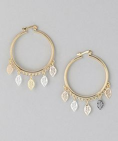 Another great find on #zulily! Rose Gold & Gold Cutout Leaf Hoop Earrings by Sevil Designs #zulilyfinds