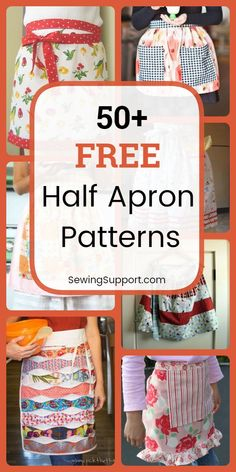 Over 50 Free Half Apron patterns, tutorials, and diy sewing projects. Over 50 Free Half Apron patterns, tutorials, and diy sewing projects. Sew vintag… Over 50 Free Ha Retro Apron Patterns, Apron Pattern Free, Vintage Apron Pattern, Aprons Vintage, Easy Sewing Patterns, Dress Patterns, Pattern Sewing, Tote Pattern, Purse Patterns