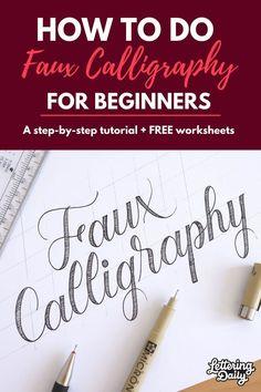 Faux Calligraphy Alphabet, Calligraphy Tutorial, Hand Lettering Alphabet, Hand Lettering Tutorial, How To Write Calligraphy, Caligraphy, Calligraphy Art, Graffiti Alphabet, Islamic Calligraphy