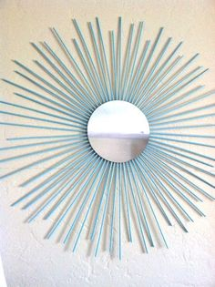 Sunburst Wall Mirror Art Contemporary Modern Decor Wooden Tiffany Blue Turquoise  LARGE. $35.00, via Etsy.    DIY with mirror and colored wooden dowels