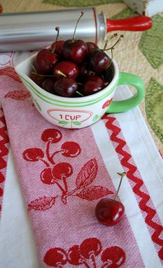 Cute Cherry measuring cup and tea towel <3