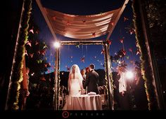 paper cranes hanging from chuppah