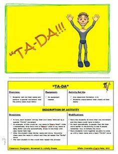 CLASSROOM ENERGIZERS AND ACTIVITY BREAKS - 25 FLIP CARDS - TeachersPayTeachers.com