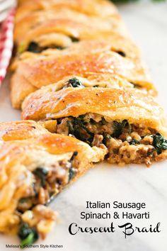 Italian Sausage Spinach And Havarti Crescent Braid