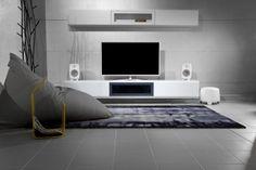 minimal interior with Genelec audio