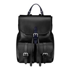 Aspinal of London Oxford Rucksack In Smooth Black found on Polyvore featuring bags, backpacks, smooth black, drawstring backpack, buckle flap backpack, drawstring bag, ipad backpack and tablet bag