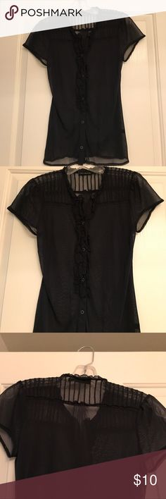 Black, sheer button up Sexy button down shirt. Can wear to work with a camisole or a night out with black bra. Small ruffles down the shirt, where it buttons Tops Button Down Shirts