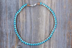 blue beaded ankle bracelet boho anklet foot jewelry summer