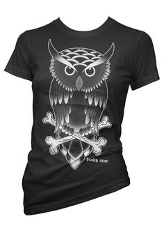 "Women's ""Owl"" Tee By Pinky Star (Black)- have this!"