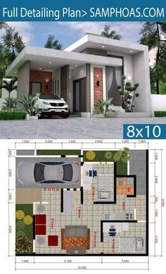 Sketchup House Modeling Idea From Photo 8x10m Samphoas Plansearch House Floor Design Modern House Design Small House Design